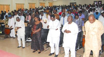 From left, The Vice-Chancellor, Prof. Oluwafemi Olaiya Balogun, his wife, Principal Officers and other members of the University  community  at the joint prayer session.