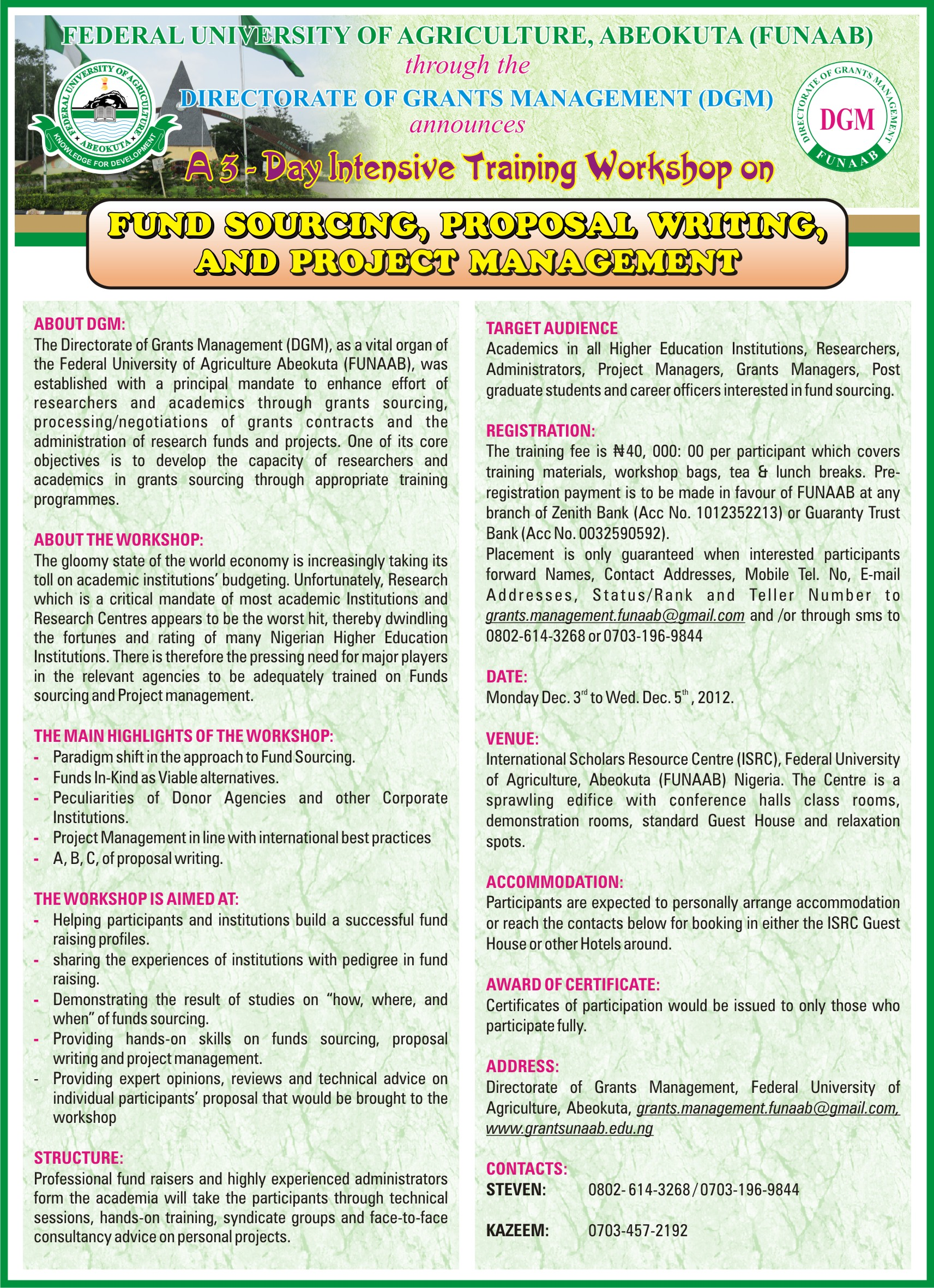 Fund Sourcing Proposal Writing And Project Management Funaab