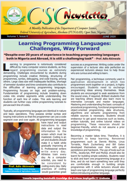 CSC Newsletter  Vol 1 Issue 6 June 2020