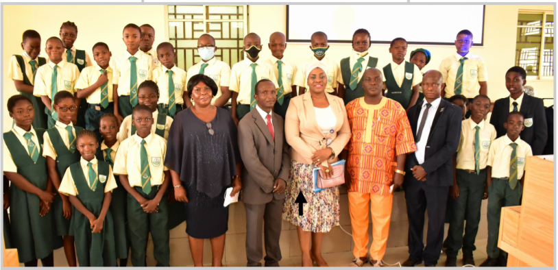 Representative of the Deputy Vice Chancellor (Academic) and Deputy Registrar II, Establishment Matters and Human Resources (Senior), Mrs. Oluwakemi Banuso (Arrowed) with the Acting Principal, FUNIS, Mrs. Emily Okpete; Centre Manager, ICPD, Mr. Lawrence Kazeem; resource persons; and students of FUNIS at the event.